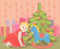 圣诞节女孩和马 免版税库存图片