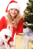 圣诞节女孩圣诞老人结构树 图库摄影
