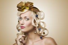 圣诞节女孩头发结构树 免版税库存照片