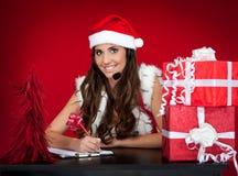 圣诞节女孩存在圣诞老人愿望 库存图片