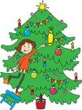 圣诞节女孩少许最近的结构树 库存例证