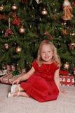 圣诞节女孩少许结构树 免版税库存照片