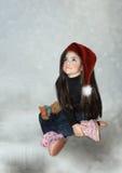 圣诞节女孩帽子一点 免版税图库摄影