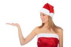 圣诞节女孩帽子相当红色佩带 免版税库存图片