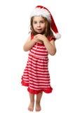 圣诞节女孩愉快的矮小的圣诞老人 免版税库存图片