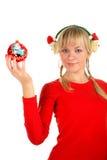 圣诞节女孩纵向玩具 库存照片