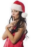 圣诞节女孩纵向红色 免版税库存照片