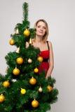 圣诞节女孩纵向 免版税图库摄影