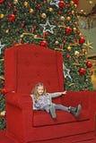 圣诞节女孩结构树 库存照片