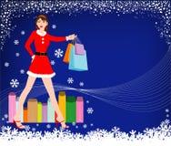 圣诞节女孩购物 皇族释放例证