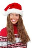 圣诞节女孩,圣诞老人`的s h年轻美丽的微笑的少妇 库存图片