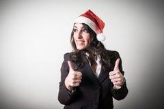 圣诞节女实业家微笑的正面 免版税库存图片