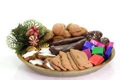 圣诞节好吃的东西牌照 库存图片