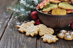 圣诞节姜和蜂蜜曲奇饼 免版税库存照片