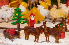 圣诞节姜面包场面 免版税库存图片