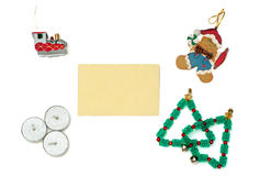 圣诞节姜饼、火车、树和蜡烛与招呼的加州 免版税库存图片