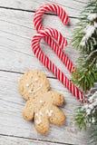 圣诞节姜饼人、棒棒糖和杉树 库存照片