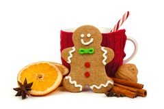 圣诞节姜饼人用在白色的杯子和假日香料 免版税库存照片