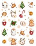 圣诞节姜饼和甜点 向量例证