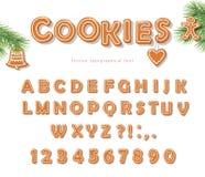 圣诞节姜饼曲奇饼字体 饼干信件和数字 eps10开花橙色模式缝制的rac ric缝的镶边修整向量墙纸黄色