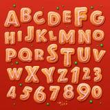 圣诞节姜饼曲奇饼字母表和数字 库存例证
