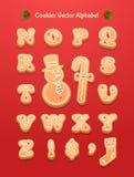 圣诞节姜饼曲奇饼字母表 皇族释放例证