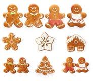圣诞节姜饼曲奇饼集合 库存图片