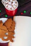 圣诞节姜饼曲奇饼,热巧克力 免版税库存照片
