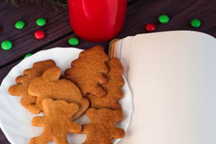 圣诞节姜饼曲奇饼,热巧克力 图库摄影