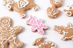 圣诞节姜饼曲奇饼-细节 库存照片