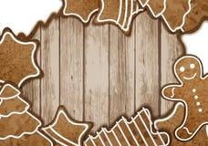 圣诞节姜饼框架 免版税库存图片
