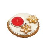 圣诞节姜饼蜡烛台 图库摄影