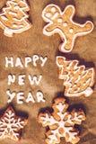 圣诞节姜饼,在羊皮纸样式instagram的题字 库存照片