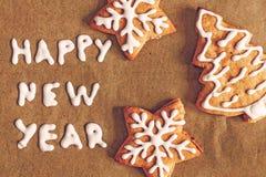 圣诞节姜饼,在羊皮纸样式instagram的题字 图库摄影