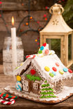 圣诞节姜饼给上釉的节假日安置放置结构树妇女的准备 欧洲圣诞节假日传统 免版税库存图片