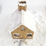 圣诞节姜饼给上釉的节假日安置放置结构树妇女的准备 库存图片