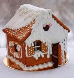 圣诞节姜饼给上釉的节假日安置放置结构树妇女的准备 库存照片