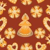 圣诞节姜饼 无缝的模式 免版税图库摄影