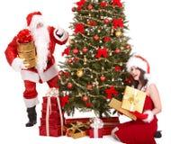 圣诞节子句冷杉女孩圣诞老人结构树 图库摄影