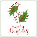 圣诞节字法,假日书法词组隔绝在白色背景,贺卡设计 库存图片