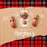 圣诞节字符、圣诞老人和驯鹿 库存照片