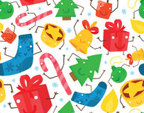 圣诞节字符无缝的背景 免版税库存图片