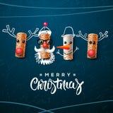 圣诞节字符,圣诞老人雪人,驯鹿 皇族释放例证