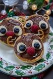 圣诞节孩子的乐趣食物 驯鹿薄煎饼 库存照片