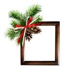 圣诞节安排和一个框架的照片或文本 图库摄影