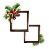 圣诞节安排和一个框架的照片或文本 免版税图库摄影