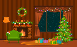 圣诞节客厅 免版税库存图片