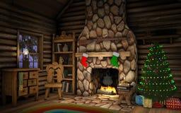 圣诞节客舱内部 免版税库存图片