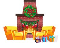 圣诞节室欢乐内部在前夕新年快乐 向量例证