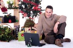 圣诞节家庭人存在 免版税图库摄影